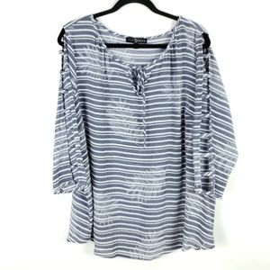 NWOT Fred David 1X Striped Tunic Cut Out Sleeves